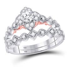 14kt Two-tone Gold Round Diamond Bridal Wedding Engagement Ring Band Set 5/8 Ctw - $1,698.00