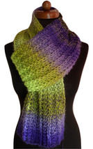Knitted infinity scarf, women shawls, Gift for her or him, green-violet ... - €35,86 EUR