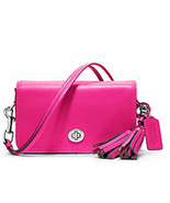 NWT FUCHSIA COACH LEGACY LEATHER PENNY CROSSBODY SHOULDER PURSE HANDBAG. - $99.99