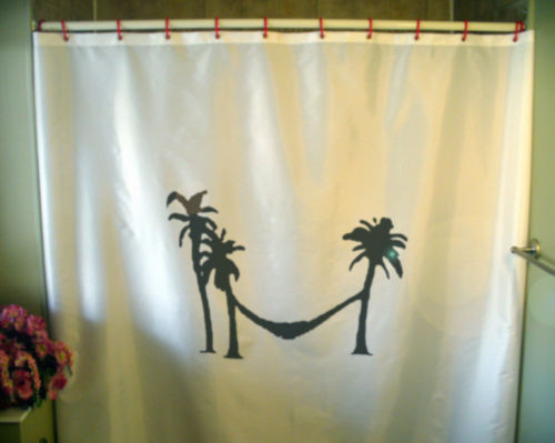 Primary image for Shower Curtain hammock palm tree tropical paradise rest