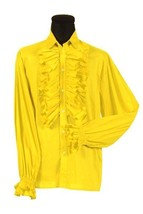 70's  Prom Shirt - Frilled Front and Cuffs - Yellow  -  Deluxe Cotton - $37.20