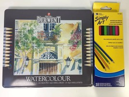 Rexel Derwent Watercolor Pencils 24 ct Tin & Loew Cornell 18 ct Box Art ... - $38.65