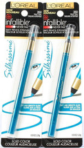 2 L'Oreal Infallible Silkissime Bold Color Silky Pencil Eyeliner 260 True Teal - $18.99