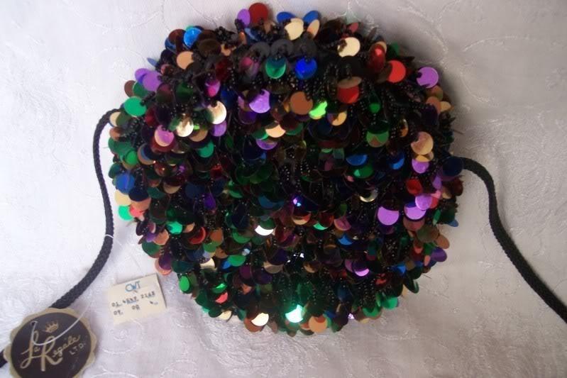 NWT Vintage Purse Black Glass & Sequins Hand Sewn Beads La Regale ROUND Evening