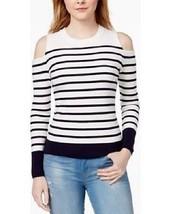 TOMMY HILFIGER Women's White/Navy Blue Striped Cold Shoulder Knit Sweate... - $18.96