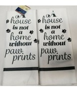 """SET of 2 MICROFIBER TOWELS (15""""x25"""") A HOUSE IS NOT A HOME WITHOUT PAW P... - £8.26 GBP"""