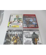 Lot 5 PS3 Game Playstation 3 Uncharted Madden 09 inFamous Complete Clean... - $25.00