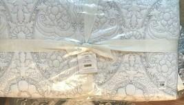 Pottery Barn Kiley Quilt Set White King 2 King Sham Gray Floral Stitch Medallion - $299.00