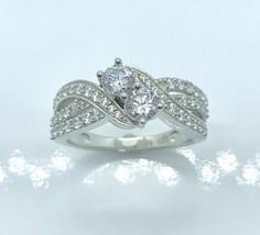 Round Diamond Swirl Promise Ring 14 Karat White Gold Finish Over Sterling - $84.15