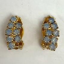 Vintage Opalescent Light Blue Rhinestone Clip On Earrings Dainty Small E... - $19.75