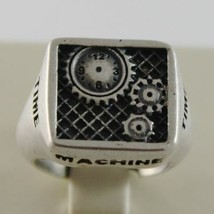 Silver Ring 925 Burnished Finish with Gears of Machine Time Machine Time image 2