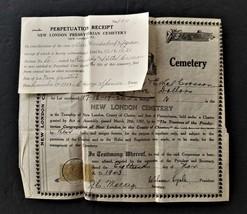 1943 vintage NEW LONDON CEMETARY pa CEMETARY PLOT EPHEMERA ken ethel CRO... - $42.50