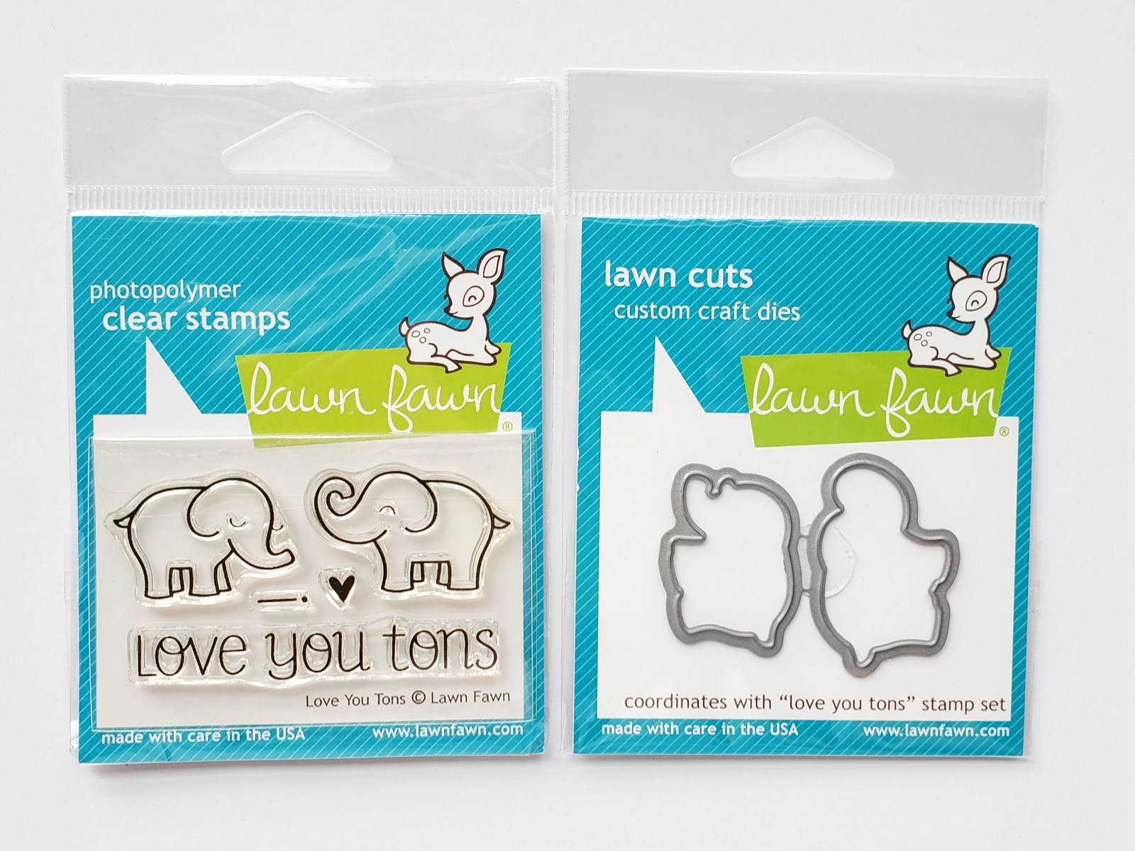 Love You Tons, Elephant Stamp & Die set. Lawn Fawn
