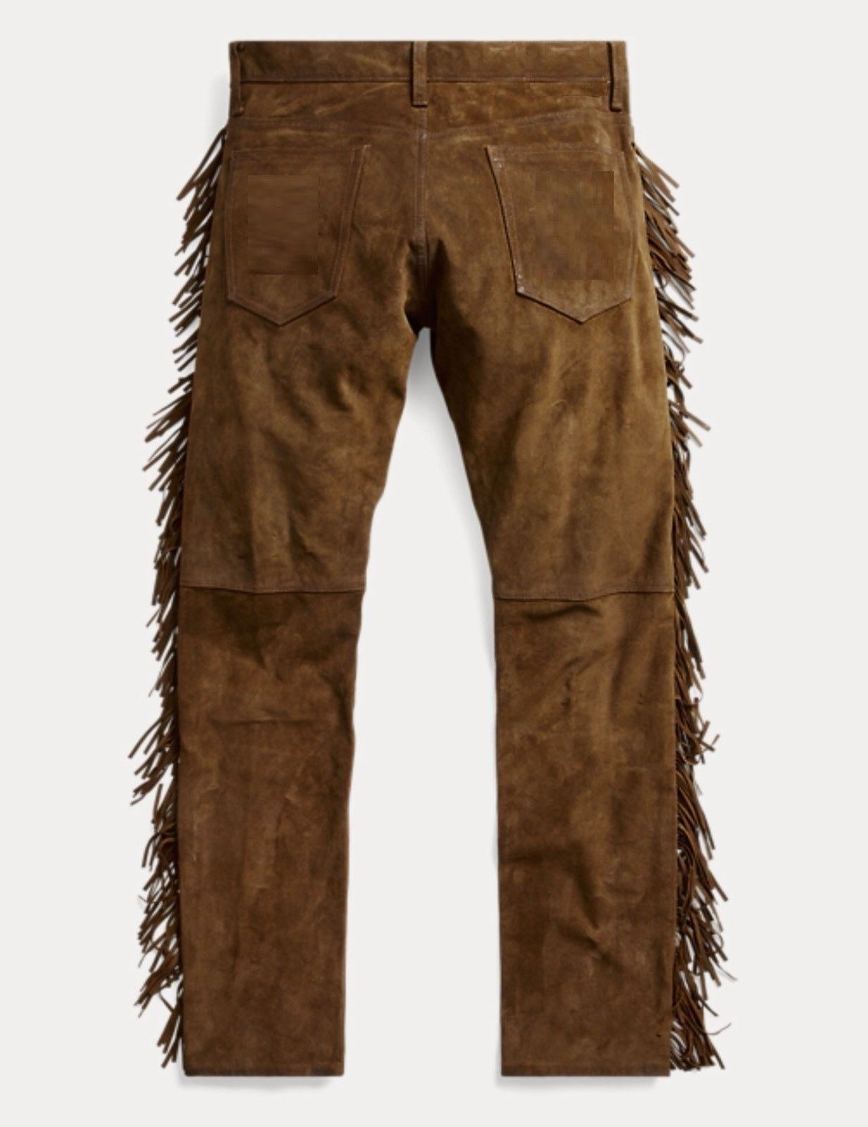 QASTAN Men's New Native American Buckskin Color Suede Leather Fringes Pants WP2 image 5