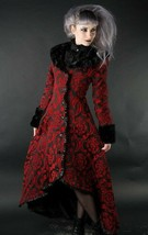 Women's Red & Black Brocade Gothic Victorian Fall Winter Long Steampunk ... - $166.46