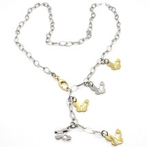 SILVER 925 NECKLACE, CHAIN OVAL, PENDANT WITH BUTTERFLIES YELLOW AND WHITE image 1