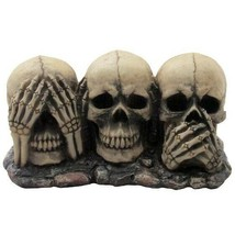 No Evil Skulls Scary Hear Speak See Decoration Figurine Skeleton Bones S... - $41.77