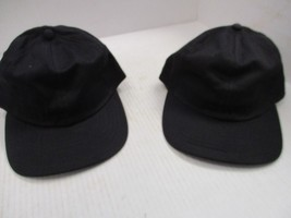 1 PAIR-NEW VINTAGE ALL BLACK CAPS/HATS-6 PANEL-RELAXED-ELASTIC BAND-MOHR... - $5.90