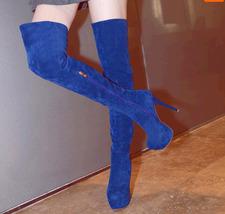 PB171 European style knight boots, stiletto, 13.6 cm heels, size 4-10.5, blue - $78.80