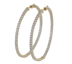 Sterling Silver Gold Plated CZ Oval Hoop Earrings L20571 - $175.00