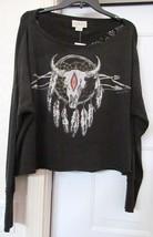 RALPH LAUREN DENIM & SUPPLY Knit Top Southwest Style LACE BACK Black M New - $47.94
