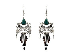 Mia Jewel Shop Handmade Teardrop Stone Silver Tail Dangle Earrings - $7.83