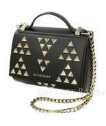 GIVENCHY Pandora Box Mini Calf Leather Black Handbag Italy Authentic 521... - $852.39