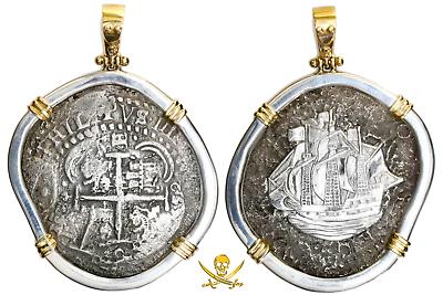 PENDANT BOLIVIA JEWELRY 1652 8 REALES PIRATE GOLD COINS CAPITANA SHIPWRECK COB