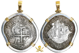 PENDANT BOLIVIA JEWELRY 1652 8 REALES PIRATE GOLD COINS CAPITANA SHIPWRE... - $1,495.00