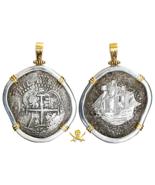 PENDANT BOLIVIA JEWELRY 1652 8 REALES PIRATE GOLD COINS CAPITANA SHIPWRE... - $1,495.00