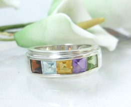 Multi Gemstone Princess Cut Sterling Ring Size 7 - $42.00