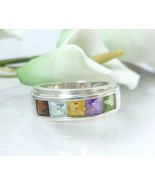 Multi Gemstone Princess Cut Sterling Ring Size 7 - $42.00