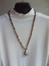 Vintage Necklace Fleur de Lis Silver Plate Spoon Pendant on Beaded Metal Chain - $9.85