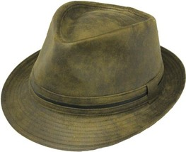 Henschel Faux Leather Stingy Brim Fedora Lined Distressed Brown Black Brown - $52.00