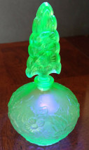 """Vaseline Glass """"Irice"""" Czech Perfume Bottle Frosted Flowers 1930's Exqui... - $210.38"""
