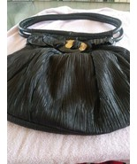 Vintage 80s Limar Designs Ruched Black Leather Shoulder Handbag - $50.00