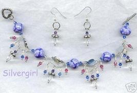 Periwinkle Crystal Drape Link Charm Bracelet and Earrings - $25.60