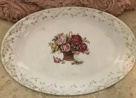 Rare Vintage 1924 Homer Laughlin Roses Basket Oval Ironstone Platter Cottage - $34.60