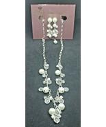 Premier Design Crystal Faux Pearl Necklace & Dangling Earrings Set in Bo... - $23.74