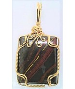Tiger Iron Gold Wire Wrap Pendant 59 - $44.00