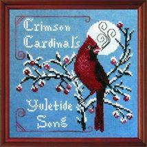 Crimson Cardinal winter holiday cross stitch chart Tempting Tangles  - $9.00