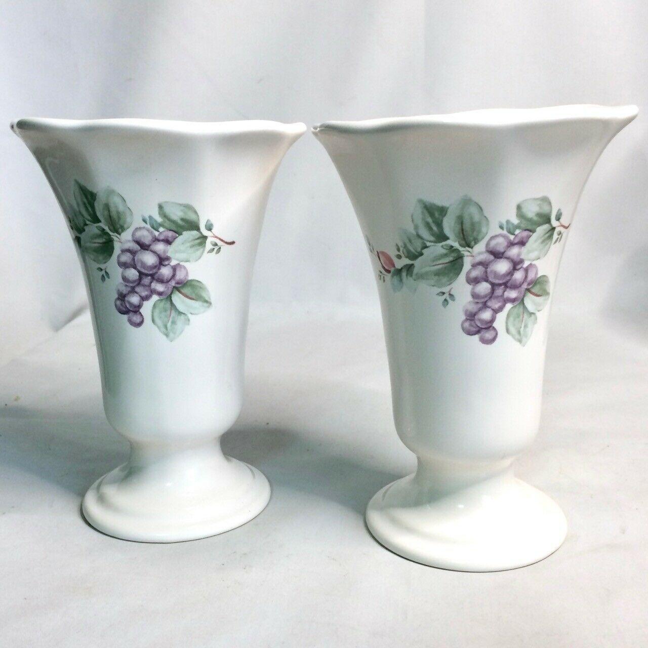 Pfaltzgraff Grapevine Collection Candle Stick Holder / Flower Vase Lot Set of 2 - $23.34