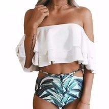 Two Tier Ruffle Top + Cut Out High Waist Women Bikini Set - $36.56