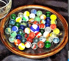 Marbles in a Custard Dish with 1 Shooter AA18 - 1174-C 50 Vintage image 2