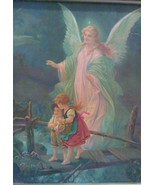 Angel Vintage Print on board 70's painting Framed Blessed Religion Church - $24.00