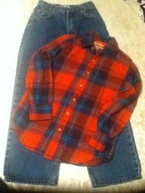 Arizona jeans Size 12S  2 piece lot medium plaid shirt western rodeo out... - $18.25