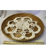 Vintage Sea Shells Woven Wicker type Wall Hanging Asian Souvenir People'... - $23.40