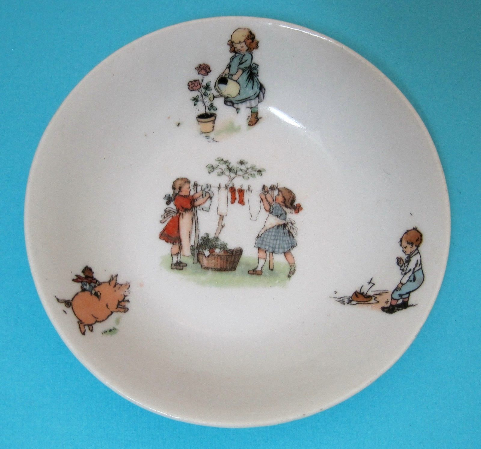 Primary image for Antique Children's Germany Bowl Girls Doing Laundry Riding a Pig So Cute!   T68