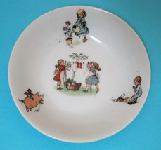 Antique Children's Germany Bowl Girls Doing Laundry Riding a Pig So Cute... - $28.22