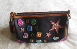 Dooney & Bourke Black Leather Tassel Handbag Colorful Letters/Stars  - $34.65